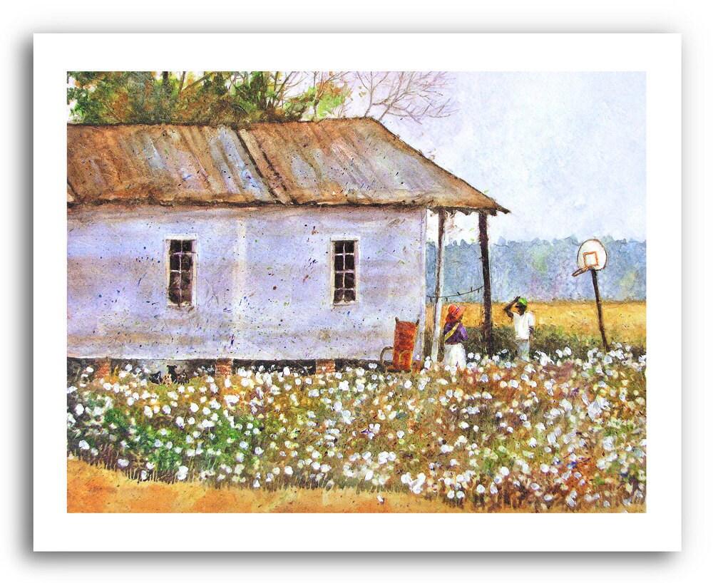Cotton Field Folk Art Down In Louisiana Prints
