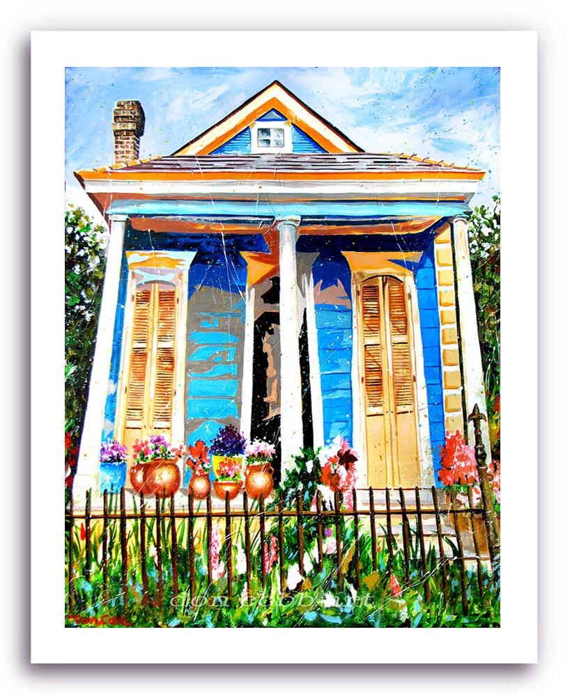 New Orleans French Quarter Shotgun House Art By Doncobbartwork