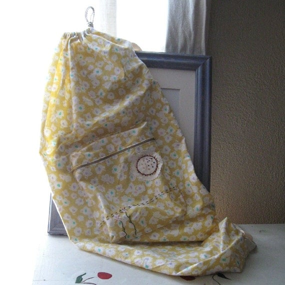 "YOGA DRAWSTRING BAG Hand Embroidered on Vintage Yellow Floral Cotton ""Sunny"""