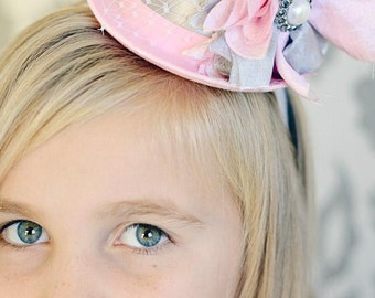 Mini Top Hats, Mini Top Hat Headband, Birthday Party Hats, Pink Silver Gray, Baby Headbands, Mad Hatter, Alice In Wonderland, Photo Props