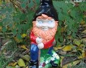 Creepy Lawn Gnome . Large Bloody Hillbilly Woodsman Garden Art