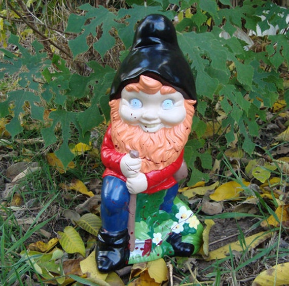 Creepy Lawn Gnome . Large Bloody Hillbilly Woodsman Garden Art