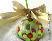 Fun Decoupage Collage Christmas Ball Ornament in Floral Pattern in Green and Burgandy Pokadots