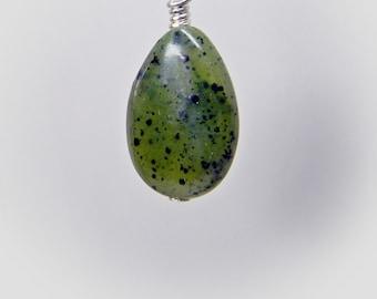 Gemstone Earring Pendant Charm; Interchangeable Jade Earrings Pendant Bracelet Jade dangle Wire Wrapped in Sterling Silver; Healing drop