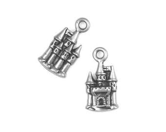 TierraCast CASTLE CHARM - Antique Silver Charm - Enchanted Castle Fairy Tale Pendant - Tierra Cast Pewter (P703)