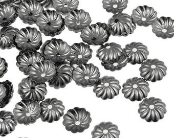 144 Gunmetal Bead Caps 7mm Pleated Dome Black Oxide Beadcaps - Gun Metal Beads - Medium Gunmetal Plated Caps (FSGM91)