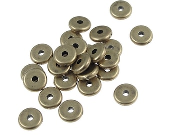 100 Antique Brass Beads 6mm Disk Brass Oxide Spacers Heishi Beads TierraCast (PS286)