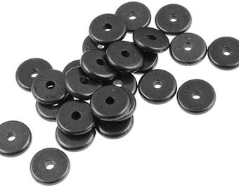 20 Black Spacer Beads 7mm Disk Heishi Washer Beads by TierraCast Pewter Gunmetal Gun Metal Beads (PS293)