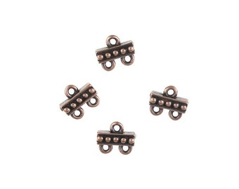 4 Antique Copper Links - TierraCast Pewter Beaded 2 to 1 Links - Dark Copper Multistrand Multi-Strand Connectors (PF461)