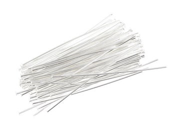 "100 Silver Head Pins 1.5"" 22 Gauge Silver Headpins - Silver Plated Findings - 22 g 1 1/2"" Silver Head Pin Findings (FS79)"