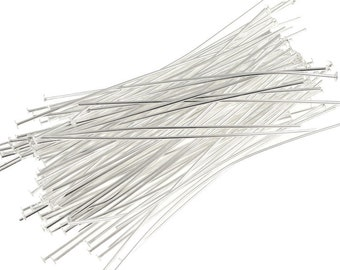 """Bulk Bag 1000 2"""" Silver Headpin Findings Silver Plated Head Pins 22g 2 Inch  22 Gauge 2"""" Bright Silver Findings (FS81)"""