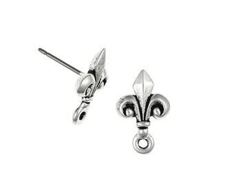 4 Fleur de Lis TierraCast Post Earring Findings - Antique Silver Stud Ear Findings - Tierra Cast Silver Findings  (PF197)