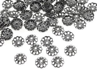144 Gunmetal Bead Caps 6mm Open Filigree Caps - Gun Metal Beadcaps - Black Oxide Metal Beads - Dainty Delicate Caps (FSGM116)