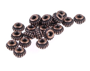 20 Copper Beads 5mm Coil Antique Copper Heishi Beads Bali Style TierraCast Copper Spacers (PS374)