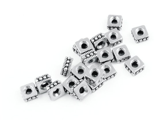 Silver Beads 4mm Rococo Square Antique Silver Spacer Beads - Heishi Beads - TierraCast Pewter Silver Metal Beads - Bali Beads (PS61)