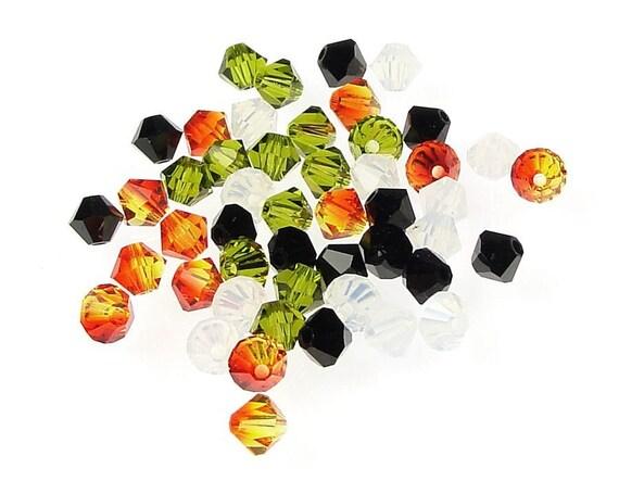 48 Beads 4mm Bicone Beads Halloween Beads Mix Swarovski Crystal Beads - Samhain All Hallows Eve Autumn Fall Beads - Orange Green Black White