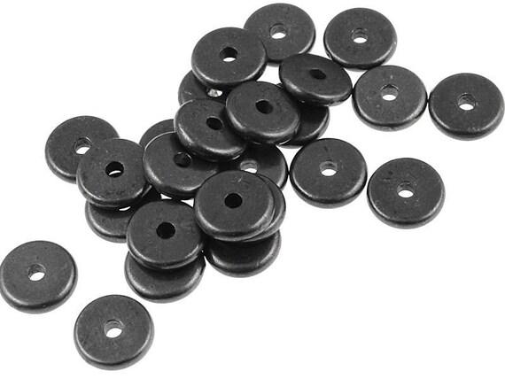 20 Black Spacer Beads 7mm Disk Heishi Washer Beads by TierraCast Pewter Gunmetal Gun Metal Beads (PS293)