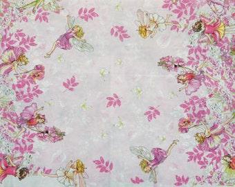 Flower Fairy Cicely Mary Barker Petal Pink Border Fairies fabric 1 yard
