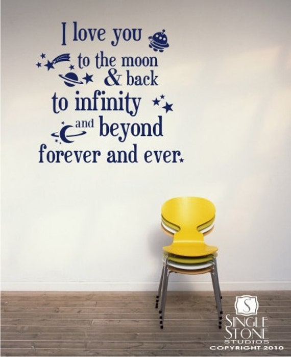 Moon and Back Wall Decals Text - Kids Wall Quotes