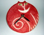 Wall decor clock: handmade Cheshire Cat smile Red white Pottery