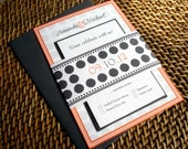Polka Dot Wedding Invitation, Orange, Charcoal Grey wedding Invitations, Unique, fun, Modern wedding invite, Bat mitzvah -Deposit to Start
