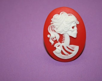 Large Red Skull Lady Cameo Ring