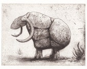 "Etching print ""Rock Monster"" mythical beast - hand-pulled limited edition print"