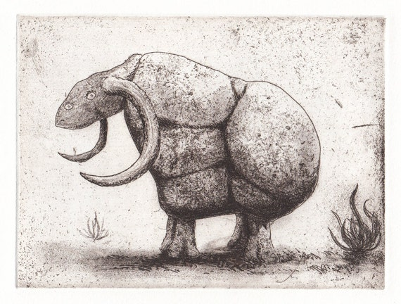 """Etching print """"Rock Monster"""" mythical beast - hand-pulled limited edition print"""