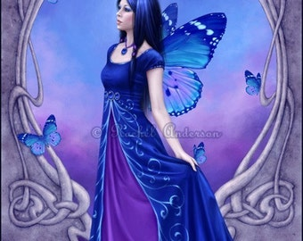 Art Nouveau Birthstone Fairy Sapphire Art Print