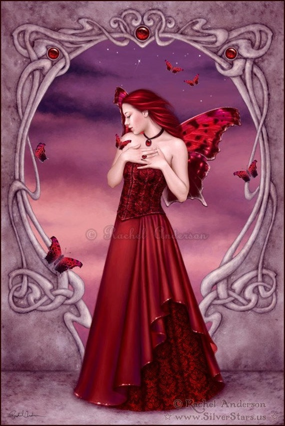 Art Nouveau Garnet Birthstone Fairy Art Print