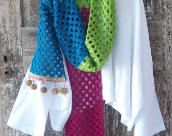 Colorful SCARF hand made crocheted in red green and blue with pom pom detail winter scarf extra long machine washable acrylic scarf vegan