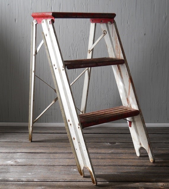 Vintage Step Ladder Metal Red and White