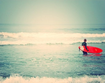as seen on Modern Family. surfer photograph. Liquid Courage red surfboard white mint blue beach California seaside for him, dorm decor