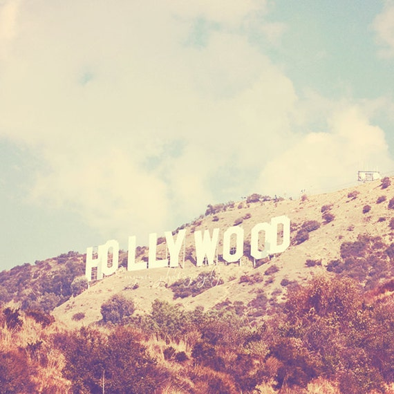 Hollywood photography, Hollywood sign Los Angeles famous hill landmark celebrities stars travel vintage inspired retro blue Oscars 5x5 12x12
