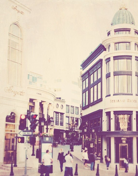 photography, Rodeo Drive Beverly Hills photograph, Los Angeles LA shopping, architecture fashion Versace, California art print
