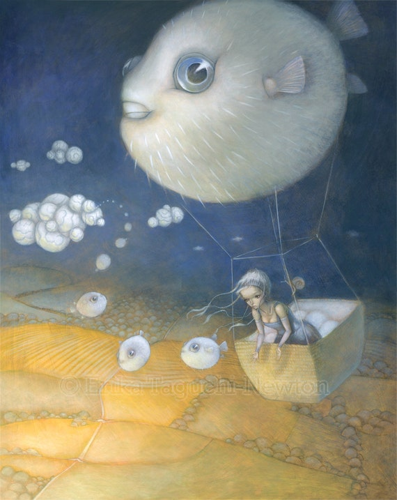 "Blow Fish 8x10 Fine Art Print, Puffer Fish Painting, Hot Air Balloon Art, ""Blowfish Dreams"""