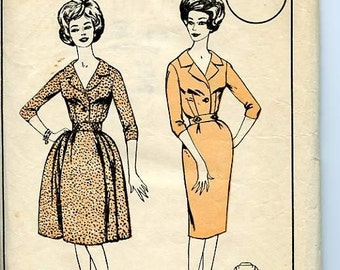 Vintage Womans Realm Fit & Flare Dress Pattern L19 has Full or Slim Skirt, Notched Collar and Fitted Bodice Unused, OFF Bust 40, Hip 42