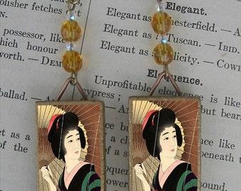 Parasol Geisha beaded earrings