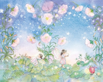 Two Fairies in a Periwinkle Garden with pink flowers -  Dark hair fairies at play