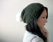 Slouchy Hat Hand Knitted in Moss Green with Large White Pom Pom - Winter Fashion Accessories