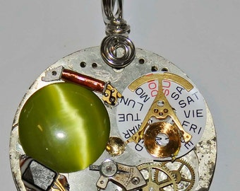 Pocket watch  victoria steampunk pendant necklace gears lime green cats eye cab jewelry artist created in Michigan