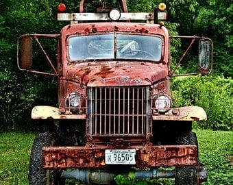 Antique Truck Art - Fine Art Photograph - Vintage Red Truck Photograph - Antique Truck - Americana - Red Green Black - Rust Red Truck