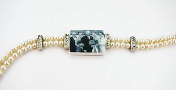 Vintage Style Pearl Photo Charm Bracelet - Medium - P2B2