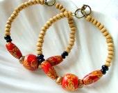 Autumn Red & Black Beaded Wood Hoop Earrings - Bohemian - stoneandbone