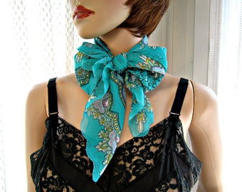 Blue Scarf Vintage 1970s scarf Womens accessories Paisley in dark aqua with a bit of lavender