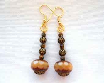 Brown Earrings Picasso Finish Antiqued Gold