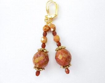 Chestnut Rose Topaz Luster Earrings on Gold