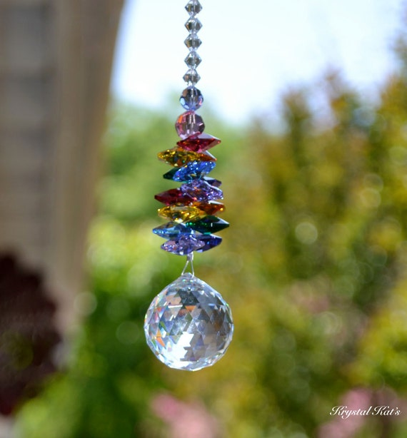 "Long 16"" Choose Your Color, Authentic Swarovski Crystal Double Beaded Rainbow Chandelier Crystal Ball Suncatcher Hanging Crystals Home Decor"