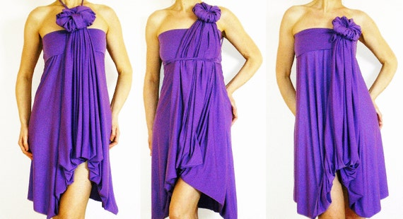 PURPLE BRIDESMAIDS DRESS -  Wrap Infinity Multi - way dress in purple jersey - more than 18 ways to wear, No.1