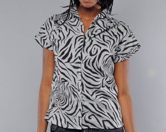 Vintage Animal Print Top // M // Zebra Stripe Blouse // Black & Grey Short Sleeve Blouse //